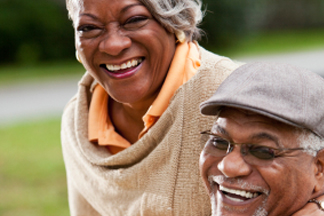 Portrait of stylish senior African American couple.