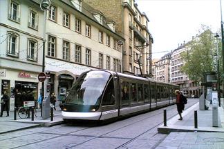 a tram in strasbourg, france