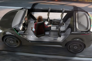 rendering of the interior of a furturistic car