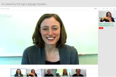 woman on a video screen using Google-Hangouts