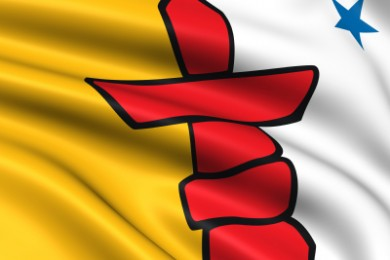 close up of flag of nunavut in canada