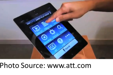 Finger touching screen of U-verse_Easy_Remote