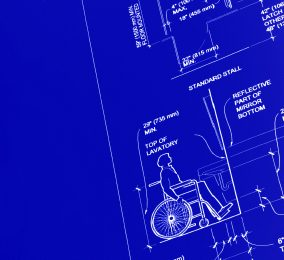 section of wheelchair user in blueprint