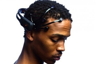 african american man wearing a wireless Emotiv headset