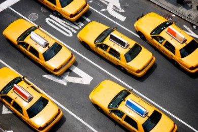 ariel view of several new york city cabs