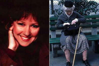 Pattie Moore, her normal appearance (to the left) and her disguised self as an 80-year old woman (right side)