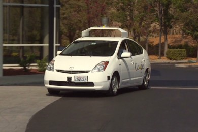 self driving car on the road in california