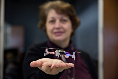 woman interacting with a drone