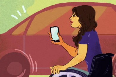 illustration of woman in wheelchair holding cell phone in front of a car