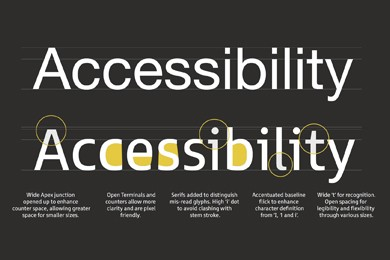 the word accessibility shown in two different webfonts