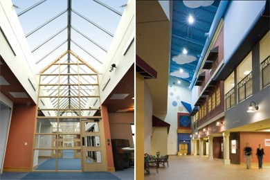 "Left: ""New Struan Centre for Autism Right: Main street at the Morris-Union Jointure Commission's (MUJC) Developmental Learning Center (DLC)"