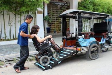 A new tuk-tuk prototype features a ramp for wheelchair accessibility