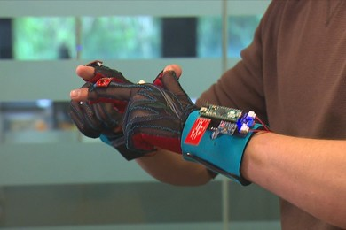 """""""signaloud"""" invention being worn on arms"""