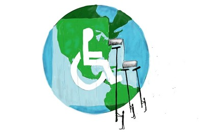 illustration of wheelchair user symbol painted on earth