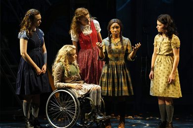 "Ali Stroker, second from left, in ""Spring Awakening."" Credit Sara Krulwich/The New York Times"