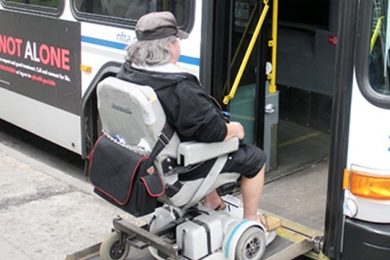 The Rehabilitation Engineering Research Center on Accessible Public Transportation at Carnegie Mellon and UB is studying ways to make buses safer and more accessible for all riders. Photo: Courtesy of the Rehabilitation Engineering Research Center on Accessible Public Transportation