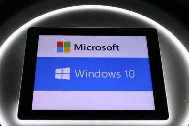 tablet with microsoft windows 10 interface
