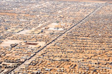 aerial view of The Zaatari refugee camp in Jordan