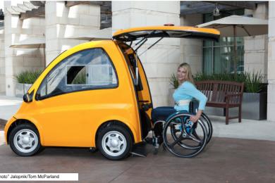 female in wheelchair entering back of car