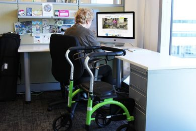office employee in wheelchair