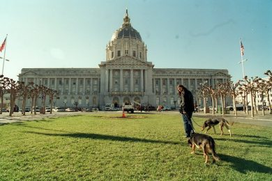 Individual walking their two dogs on the outside of the San Francisco Civic Center. He appears to be one of the few on the outside of the building that is one of the liveliest public spaces on the inside.