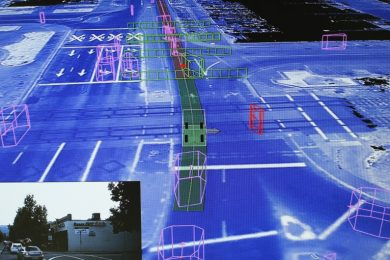Digital display map of a streetscape