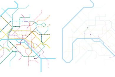 Metro stations map of Paris representing nine out of the 303 station being fully accessible.