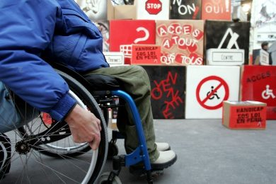 Disabled man navigating his wheelchair
