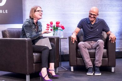 Microsoft CEO Satya Nadella chats with Jenny Lay-Flurrie at the 7th annual Microsoft Ability Summit.