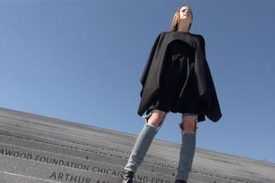 Christina Mallon models her specially designed coat.