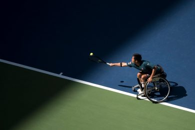 Shingo Kunieda,one of the most accomplished men's wheelchair tennis players in the world, competing in the men's doubles semifinals at the United States Open
