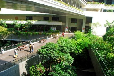The lush courtyard of Khoo Teck Puat Hospital, a 590-bed facility in Yishun, Singapore