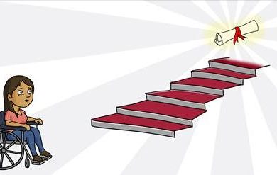 Illustration by Christine Wang of a female character in a wheelchair staring at a staircase with a diploma at the top.