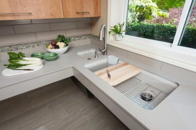 Aging in place home remodel featuring floating counter top and sink for accessibility