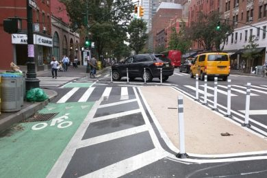 The recently redesigned intersection of Columbus Avenue and 70th Street to make cyclists more visible to drivers turning across the bike lane.