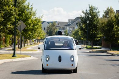 Steve Mahan, who is legally blind, rides in the gumdrop-shaped autonomous car as the first non-Google employee to ride alone. The ride was in October 2015 in Austin, Texas.