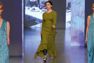Disabled models walking in London Fashion Week