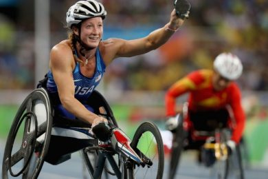 Photo shows the article's author, Tatyana McFadden, after winning the women's 400 meter T54 final at the Rio 2016 Paralympic Games.