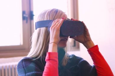 Individual testing the new virtual reality goggles
