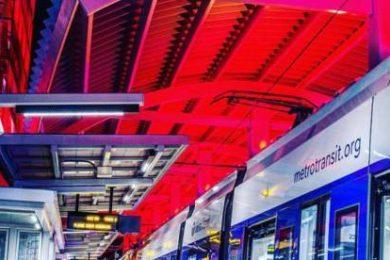 Interior of an illuminated transit stop
