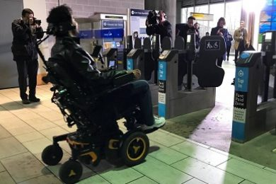 Transit users who isn't physically able to tap a Compass Card at SkyTrain fare gates, passing through the gate using a radio-frequency identification card