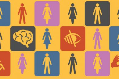 colorful icons including silhouettes of people, eyes, and brains.