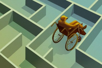 Digital render of a wheelchair user facing a barrier inside of a maze