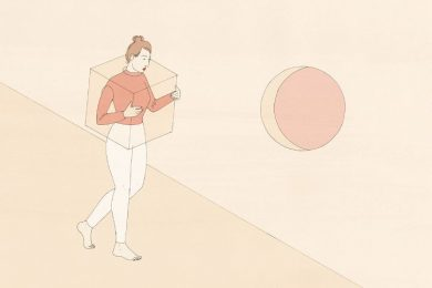 A women surrounded by a cube, walking towards a circle opening