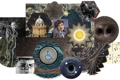 Image collage of scientific images, including formulas and photos of Stephen Hawking.