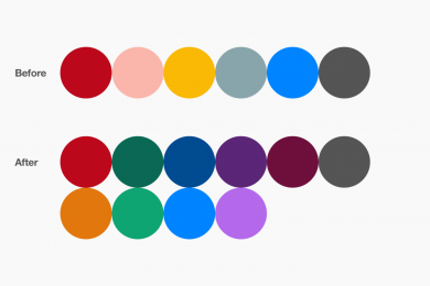 Pinterest's new color palette for their product's that's accessible with a 3.00:1 contrast ratio and up.