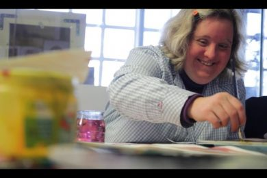 A still from the film Design-Ability. The creative firm La Casa de Carlota employs artists such as Odile, who has Down's syndrome, and autism.