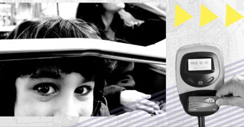 Close up of young girls face on left, on right is a digital parking meter.