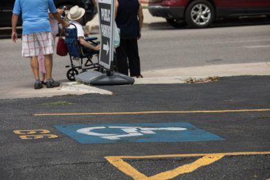 Disabled parking spots are available in the lot next to the Bexar County Courthouse.