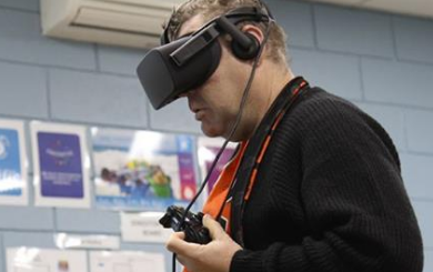 User testing the virtual reality simulation goggles